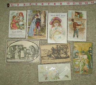Lot Of 8 Antique Victorian Trade Cards From The 1800's, Soap, Glue, Organ