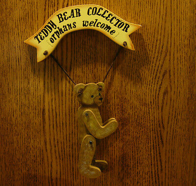 Tender Heart Treasures #THT62486 TEDDY BEAR COLLECTOR Orphans Welcome, wood sign