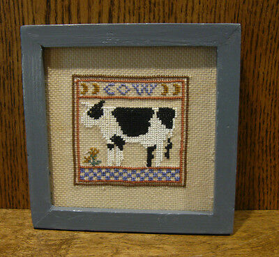 "Tender Heart Treasures #THT62492 COW NEEDLEPOINT FRAMED PICTURE, 7"" x 7"""