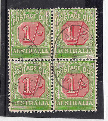 SG D 69 1/- Postage Due Block of 4 VERY FINE USED Ret$40