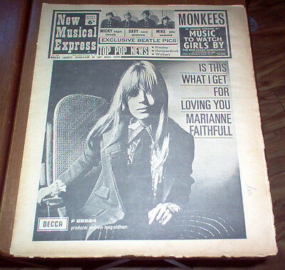 NME New Musical Express Magazine 1967 Beatles Marianne Faithfull Stones Walkers