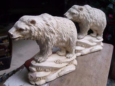 Vintage Early 1900s Syroco Wood Bear Polar Bear Bookends Book Ends