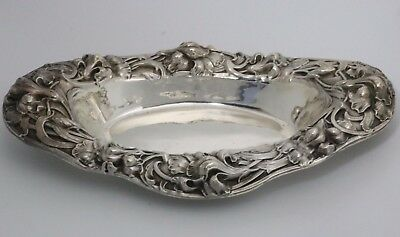 Unger Brothers Art Nouveau Sterling Silver Tray Iris Flowers