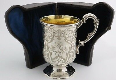 Victorian Sterling Silver Christening Cup 1863 Leather Case