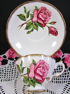 Paragon Margaret Pink Rose Sponged Gold Tea Cup And Saucer