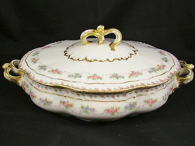 J. Pouyat Limoges Pink Rose Floral Gold Covered Serving Dish
