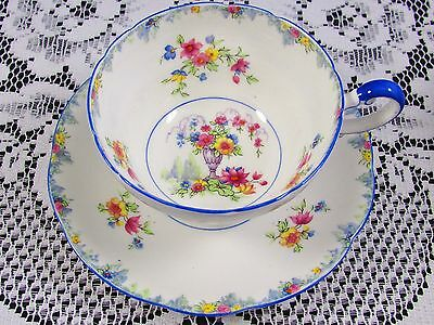 Paragon Beaded Floral Planter Blue Trim Tea Cup And Saucer