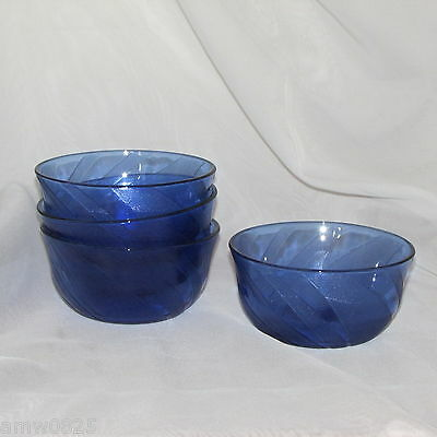4 Cobalt Blue Glass Bowls Dessert Ice Cream Fruit Nappy Stippled Swirl Pattern