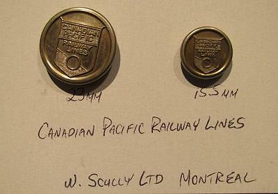 Canadian Pacific Railway Lines Vintage Pair of Silver Tone Uniform Buttons