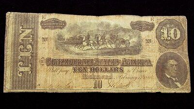 1864 Confederate States $10 Dollar Note T-68 CSA Civil War Currency