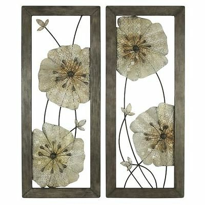Aspire Home Accents 5144 Gray Marla Flower Wall Decor (Set of 2)