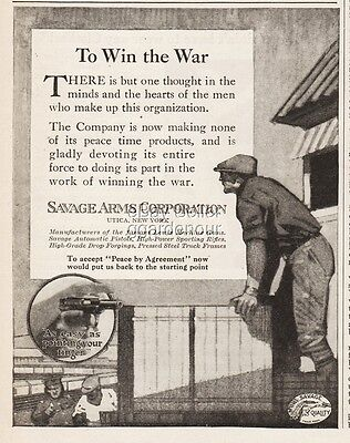 1918 Savage Arms Handgun Halt Public Production Win The War Time Effort WWI Ad