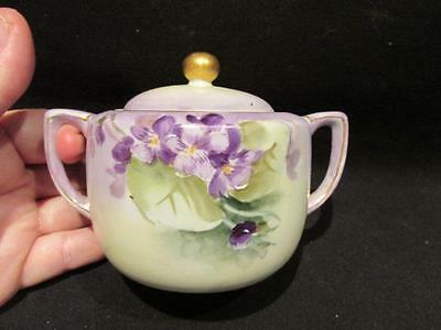 Hand Painted Nippon Vintage Small 2 Handled Covered Dish Purple Design