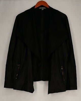Kate & Mallory Motorcycle M Long Sleeve Faux Leather Jacket Black New
