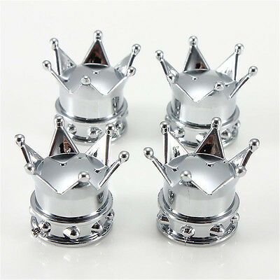 4pcs Universal Chrome Crown Car Tire Air Valve Stems Cover Caps Wheel Rims New