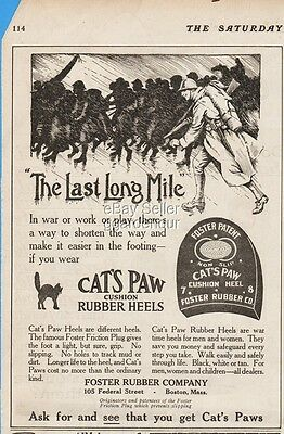 1918 Cat's Paw Shoe Heel Foster Rubber Company Boston MA WWI Soldiers Print Ad