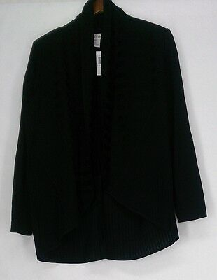 Misook Size XS Casual Open Front Long Sleeve Jacket Black New