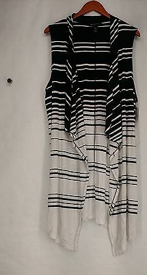 INC Plus Size Vest 2X Striped Sleeveless Open Front Black New