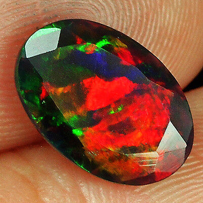1.1CT Natural Ethiopian Black Opal Faceted Cut Play Of Color QOP2631