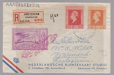 1946 Netherlands Rocket Mail Cover with Cinderella stamp and drawing