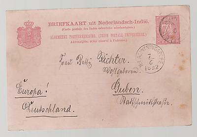 1892 Netherlands indies postal stationery Cover to Germany via Singapore