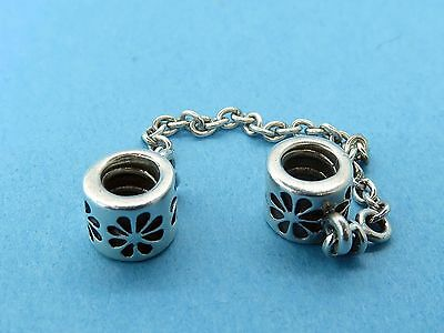 Vintage silver AUTHENTIC PANDORA  BEAD SLIDE SLIDER FLOWER CHARM w/ safety chain