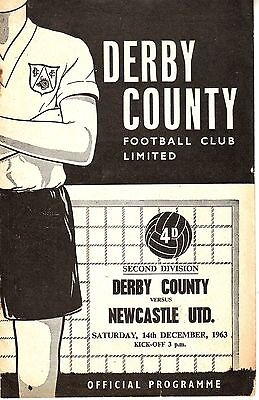 Derby County V Newcastle United 14 Dec 1963 Vgc.