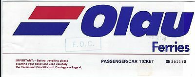 Ferry Ship Ticket - Olau - 2 Sailing Format - Sheerness Vlissingen - 1985 (T394)