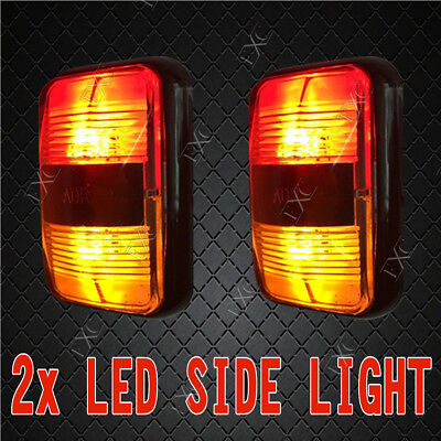 2 X Led Side Marker Lights Clearance Lamp Red Amber Car Boat Trailer Truck Rv