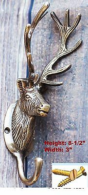 Solid Brass Wall Mount Keys Coat Towel Hook Wildlife Kitchen Office Hanger 6708