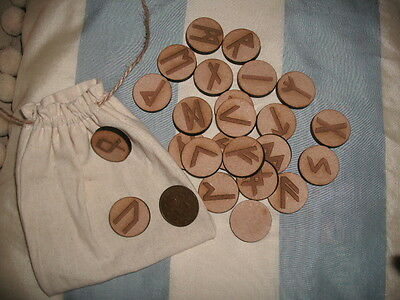 WOODEN RUNES & POUCH Round Fortune Telling RUNE STONES Wiccan Pagan Divination b