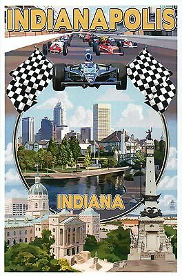 Indianapolis Indiana Montage, Indy 500, Downtown, Monument etc - Modern Postcard