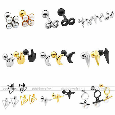 Black Gold Stainless Steel Ear Cartilage Helix Tragus Stud Ring Earring Piercing