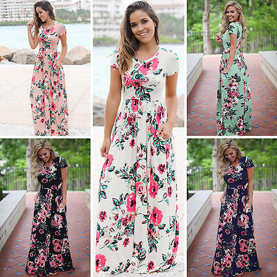 Womens Floral Pattern Short Sleeve Boho Dress Evening Party Long Maxi Dress Plus