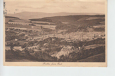 Elevated view of Peebles from the east