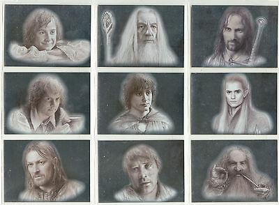 Lord Of The Rings Masterpieces I Complete Silver Foil Chase Card Set 1-9
