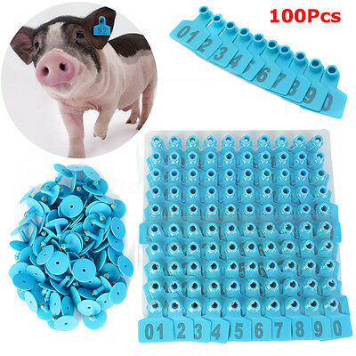 01-100 Blue Number Plastic Livestock Ear Tags Animal Tag for Goat Sheep Pigs