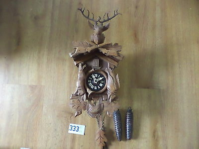 Vintage Wooden Cuckoo Clock Hunting Theme
