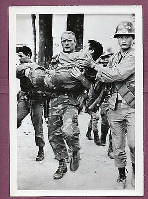 1968 Vietnam Combat Scene with Wounded Press Photo