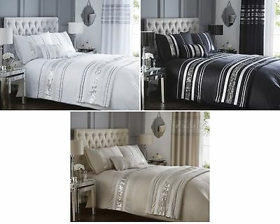 LUXURY SEQUIN GLITTER STRIPE DUVET QUILT COVER BEDDING SET or CURTAINS BROADWAY