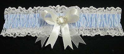 Wedding Garter Blue With White & Sheer Ribbon With Large Round Diamante Centre