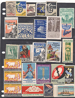 Poster Stamps, A Collection Of 27 Various Countries Exhibition Labels
