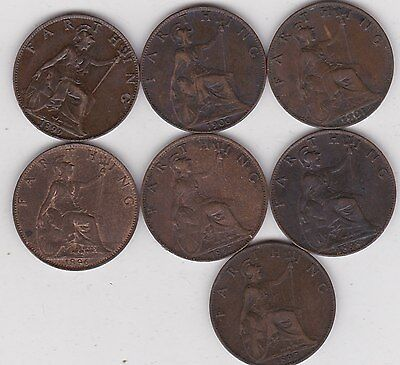 Set Of 7 Victorian Farthings 1895 To 1901 In Good Fine Or Better Condition