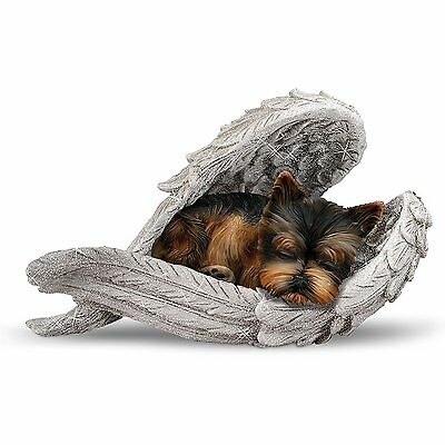 Yorkie Pup Statue Wrapped in the Loving wings of Angel Sculpture Figurine NEW