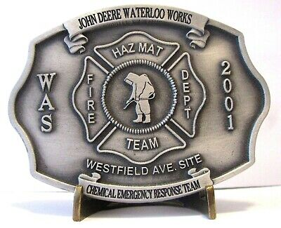 John Deere Waterloo WAS FIRE Brigade Hazmat EMPLOYEE Belt Buckle 2001 sn 1 of 60