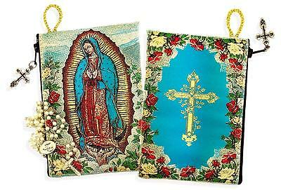 Our Lady of Guadalupe Cross on The Back Side Tapestry Rosary Icon Pouch Holder !
