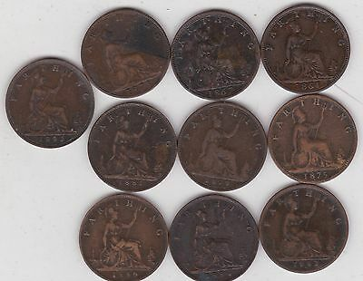 10 Victorian Farthings Dated 1864 To 1892 In Good Fine Or Better Condition
