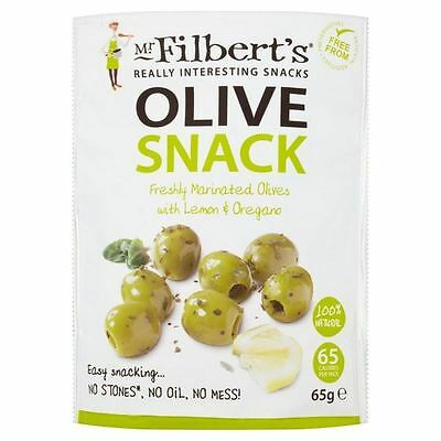 Mr Filberts Olive Snacks Pitted Green Olives with Lemon & Oregano 65g