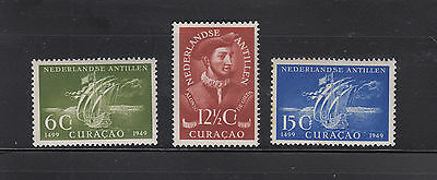 Netherlands Antilles 1949 Discovery Sc 203-205 MNH but 15c is toned