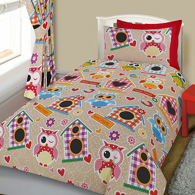 Cute Colourful Owl Bedding Double Duvet Quilt Cover Girls Childrens Kids Bed Set